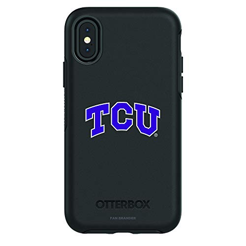 Fan Brander NCAA Black Phone case, Compatible with Apple iPhone X and Apple iPhone Xs and with OtterBox Symmetry Series (Texas Christian University Horned Frogs)
