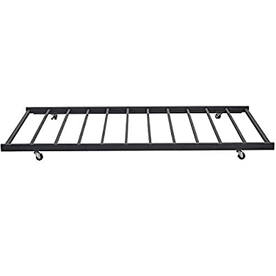VECELO Twin Only/Roll Out Trundle Bed Frame/Enhanced Metal Slats Support