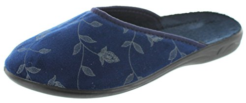 SC Home Collection Womens Closed Toe Flower Design Slippers,Navy,39 by SC Home Collection