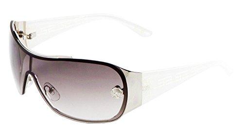 Kleo Greek Key Slim Shield Wrap Around Sunglasses (White & Silver Frame, Grey - Around Sunglasses White Wrap