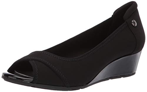 Anne Klein Women's Corner Wedge Pump, Black, 9.5 M - Women Wedge Black Pumps