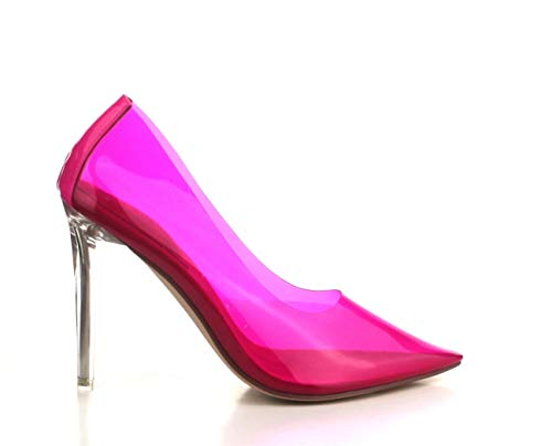a4ba3fafd56 Shoes2Die4 Cape Robbin Nuclear Neon Pink Pointy Toe Clear Heel Pump