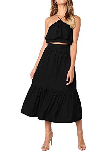 Salimdy Womens Casual Crop Top Midi Skirt Outfit Two Piece Summer Maxi Dress Beach Wear Black M
