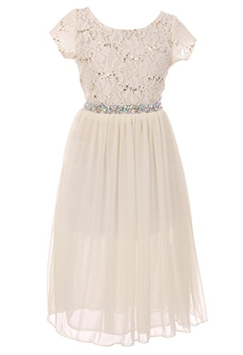 Dresess For Girls - Big Girl Sparkle Sequin Lace Chiffon