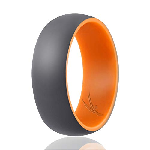 ROQ Silicone Wedding Ring for Men - Duo Collection Dome Style- Single Silicone Rubber Wedding Band - Classic Design -Orange, Grey Colors- Size 12