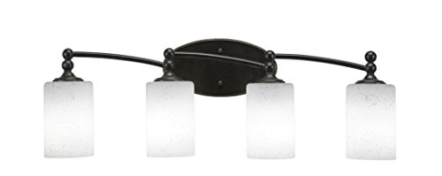 "Toltec Lighting Capri 4 Light Bath Bar, 4"" White Muslin Glass"