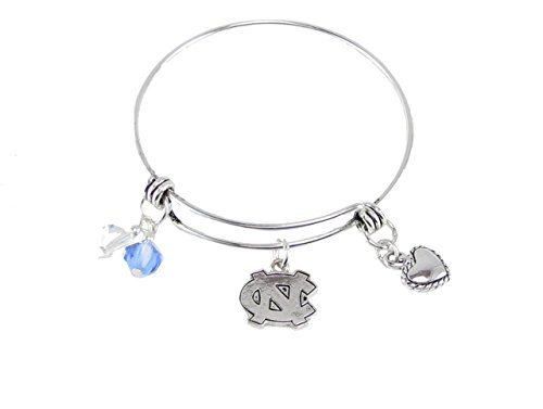 Sports Accessory Store North Carolina Tar Heels Blue Austrian Crystal Silver Wire Bangle Bracelet Jewelry UNC