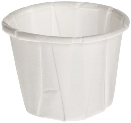 Genpak F050 Squat Paper Portion Cup, Pleated, .5oz, White, Sleeve of 250 (Case of 20)