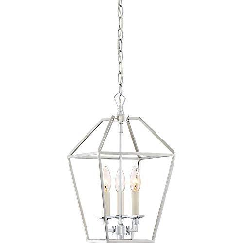 Quoizel AVY5203PK Aviary Lantern Foyer Pendant Lighting, 3-Light, 180 Watts, Polished Nickel (17