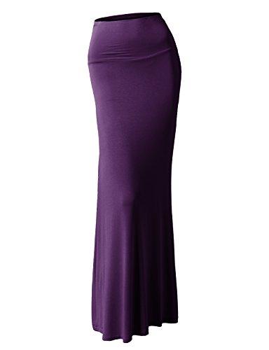 Long Skirt Blend - H2H Womens Solid Flared Cotton Blend Maxi Long Skirt Purple US M/Asia M (CWBLS016)