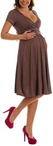 Women Maternity Jersey Flare Baby Shower Dress Short Sleeves,Cappuccino,XX-Large