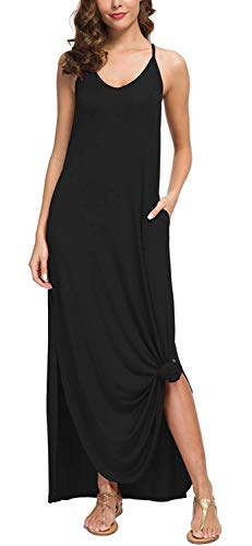 LIYOHON Women's Summer Casual Loose Dress Beach Cover Up Plain Print Long Cami Maxi Dresses with Pocket