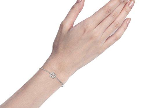 Or Blanc 18 ct Bracelet Diamant en forme de carré, 0.27 Ct Diamant, GH-SI, 1.16 grammes.