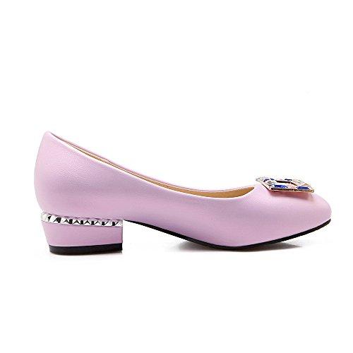 AllhqFashion Damen Weiches Material Ziehen auf Quadratisch Zehe Rein Pumps Schuhe Lila