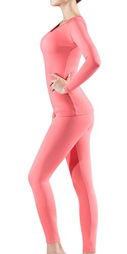 BU-WHS200-CPK_Medium Tesla Blank Women's Thermal Top & Bottom Set w Microfiber WHS200