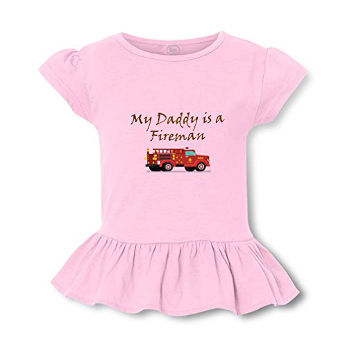 (My Daddy is A Fireman Short Sleeve Toddler Cotton Girly T-Shirt Tee - Soft Pink,)
