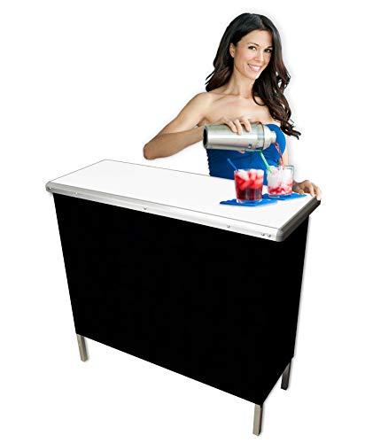 PartyPongTables.com Portable Folding Party Bar (Black & Hawaiian Bar Skirts) - Single Set