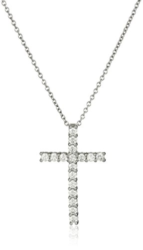 Platinum Plated Sterling Silver Cross Pendant Necklace set with Swarovski Zirconia (1.53 cttw), 18