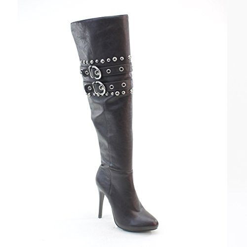 New Brieten Womens Buckles Studded High Heel Thigh High Boots zrsVuy2Gm