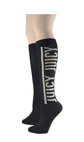 Juicy Women's 2 Pack Spark Nylon Knee Highs, Black, Ladies 9-11 (Shoe Size 4-10)