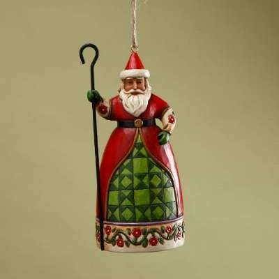 Enesco Jim Shore Heartwood Creek Santa with Cane Hanging Ornament, 5 Inches