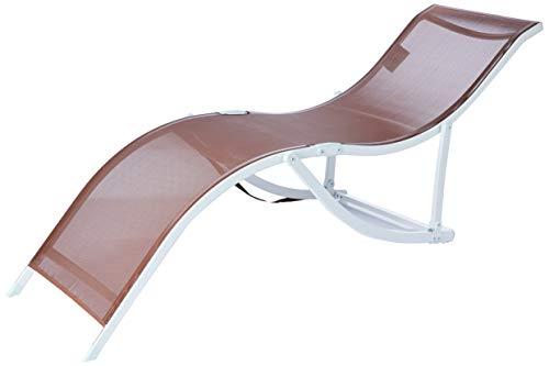 "Cadeira Espreguiçadeira ""s"" Aluminio Textilene (357) - Marrom Bel Fix Marrom"