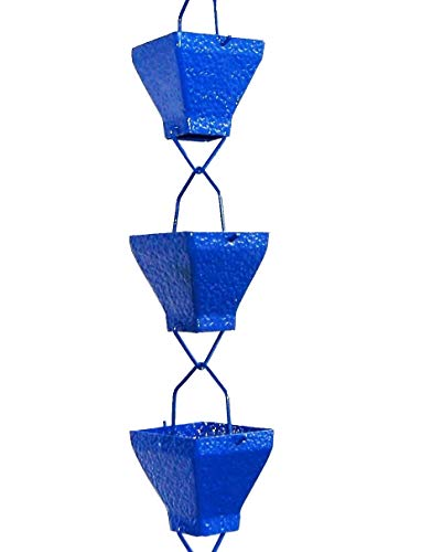 U-nitt 8-1/2 feet Rain Chain: Aluminum Square Cup Blue Embossed 8.5 ft Length #5517BLU by U-nitt