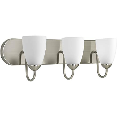 Progress Lighting P2708-09 Gather Collection Three-Light Bath & Vanity, Brushed Nickel