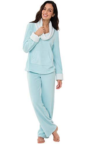 PajamaGram Super Soft Pajamas for Women - Women Pajamas Set, Teal, M, 8-10