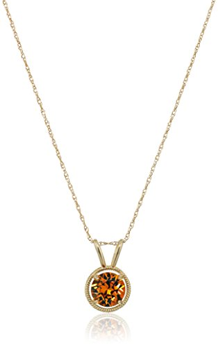 10K Gold Dainty Swarovski Elements Birthstone Pendant with Gold Filled Chain, November