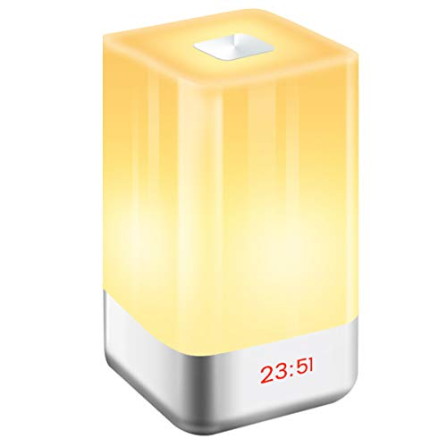GLIME Wake-Up Light Alarm Clock,Digital LED Clock Sunrise Simulation LED Bedside Lamp Clocks Touch Sensor Night Light with 7 Changing Colors 5 Natural Sounds 3 Brightness USB Rechargeable Reading Lamp