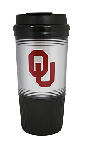 GameDay Novelty NCAA Oklahoma Sooners Insulated Platinum Gripper Travel Tumbler, 16 oz