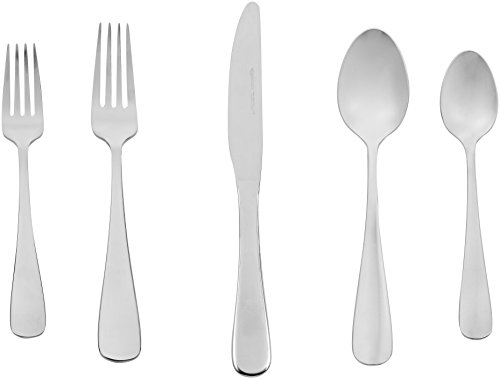 (AmazonBasics 20-Piece Stainless Steel Flatware Silverware Set with Round Edge, Service for 4)