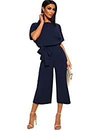 Longwu Women's Elegant High Waist Short Sleeve Jumpsuit Casual Wide Leg Pants Loose Rompers with Belt