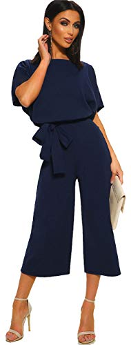 Longwu Women's Elegant High Waist Short Sleeve Jumpsuit Casual Wide Leg Pants Loose Rompers with Belt Dark Blue-S