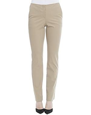 Theory Women's H0104205TS6 Beige Cotton Pants