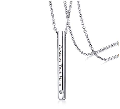 XUANPAI Personalized Engravable Minimalist Stainless Steel Keepsake Cremation Urn Pendant for Ashes Bar Necklace