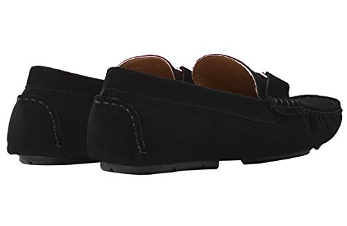 Santimon Mens Casual Argento Fibbia In Pelle Slip-on Mocassino Driving Car Scarpe Mocassino Scarpe Nere