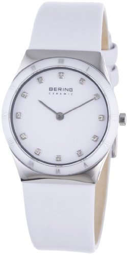BERING Time 32230-684 Women's Ceramic Collection Watch with Leather Band and scratch resistant sapphire crystal. Designed in Denmark.