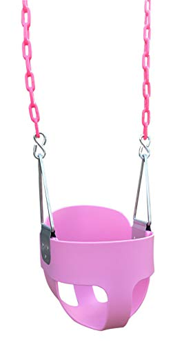 Squirrel Products High Back Full Bucket Toddler Swing Seat with Plastic Coated Chains - Swing Set Additions & Replacements -Outdoor Play Equipment - Pink