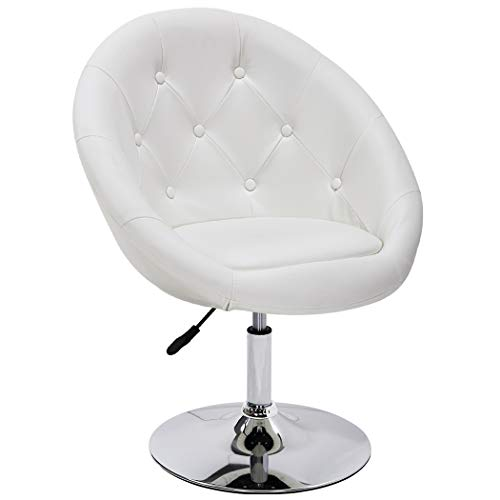(Duhome Elegant Contemporary Vanity Accent Lounge Chair Tufted Round Back Adjustable Swivel Cocktail Chair Synthetic Leather WY-509A (White) )