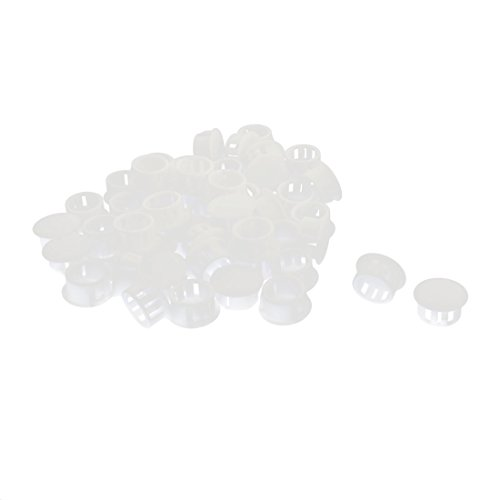 uxcell 50Pcs SKT-16 Insulated White Plastic Snap in Mounting Locking Hole Harness Fastener Cover 16mm Dia