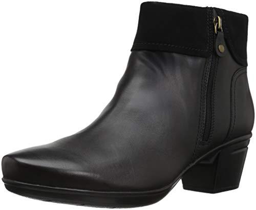 CLARKS Women's Emslie Twist Fashion Boot, Black Leather/Suede Combi, 095 M US (Women Black Leather Boots)