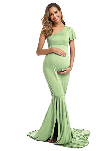 Fitted Maternity Gown One Shoulder Flutter Sleeve Baby Shower Dress Mermaid Style for Maternity Photography Shoot (L, Mint Green)