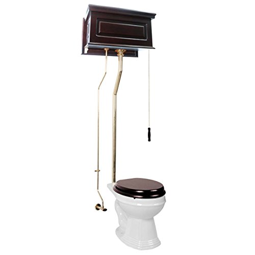 Dark Oak High Tank Pull Chain Toilet With White Round Bowl And Raised Tank China Brass L Pipe Pull Chain Toilet