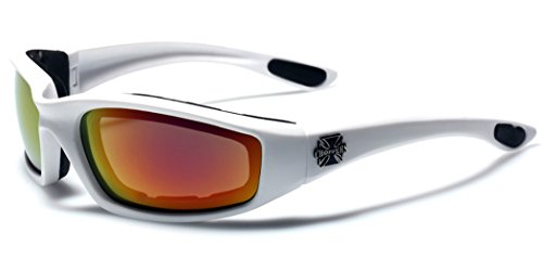 Choppers Padded Bikers Sport Sunglasses WHITE - Choppers Sunglasses