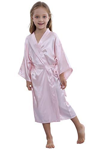 TIMSOPHIA Kids Satin Floral Kimono Robe-Flower Girl Bath Robe for Wedding Party Gift(Pink,10)]()