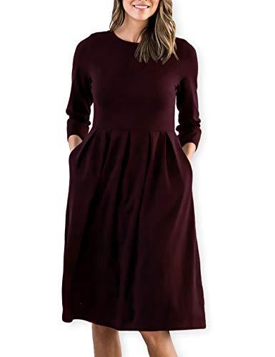 (AOOKSMERY Women Casual Cotton Mid Pleat Dress 3/4 Sleeve O-Neck Dresses with Pocket (Wine, Medium) )