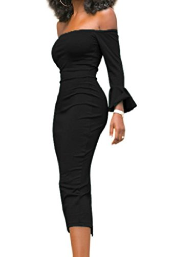 Sexy Cocktail Comfy Dress Bodycon Women Flared Black One Sleeve Step Long xU8xwEr1q