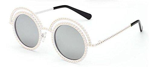 lunettes en rond vintage cercle de du soleil retro polarisées Mercure métallique style inspirées Blanc Lennon rzrTw